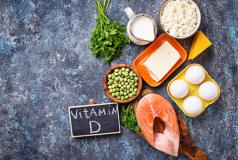 A display of foods containing vitamin D3 and omega-3 fatty acids.
