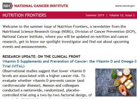 Screen grab of Nutrition Frontier E-Newsletter.