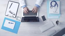 An image of a physician typing on a laptop.