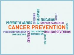 Cancer Prevention word cloud with the science's keywords.