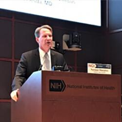 NCI Director Norman (Ned) Sharpless welcoming investigators and administrators from the program to their annual meeting in late September in Bethesda, Maryland.