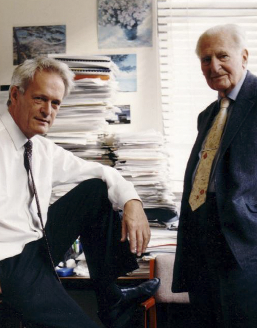 Portrait of Sir Richard Peto (left) and Sir Richard Doll (right)