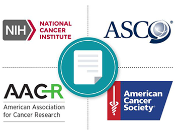 An image containing the logos of the National Cancer Institute, American Society of Clinical Oncology, American Association for Cancer Research, and American Cancer Society