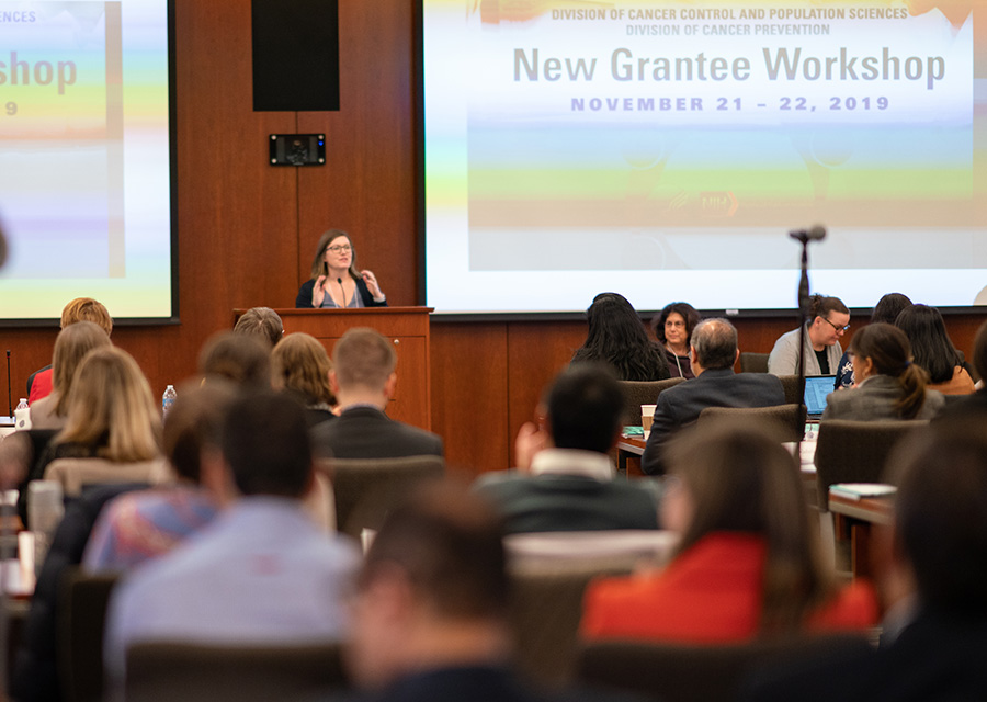 Dr. Brandy Heckman-Stoddard presentating a welcome to the new grantees.