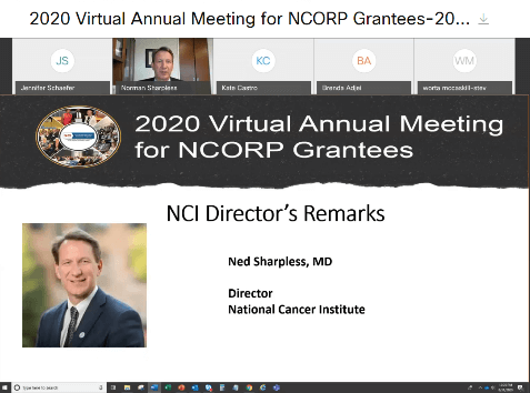 Screen grab of the 2020 Virtual Annual Meeting for NCORP Grantees.