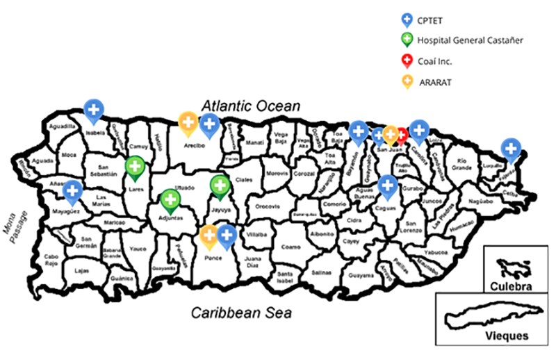 A map of Puerto Rico displaying locations of CAMPO Clinic Sites.