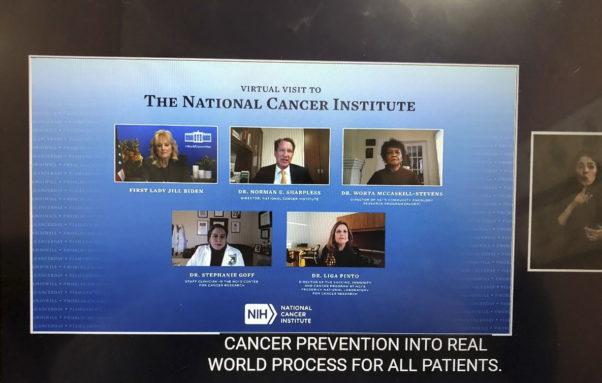 Screen capture of the panel from NCI virtual meeting with the First Lady, Dr. Jill Biden, Ph.D.