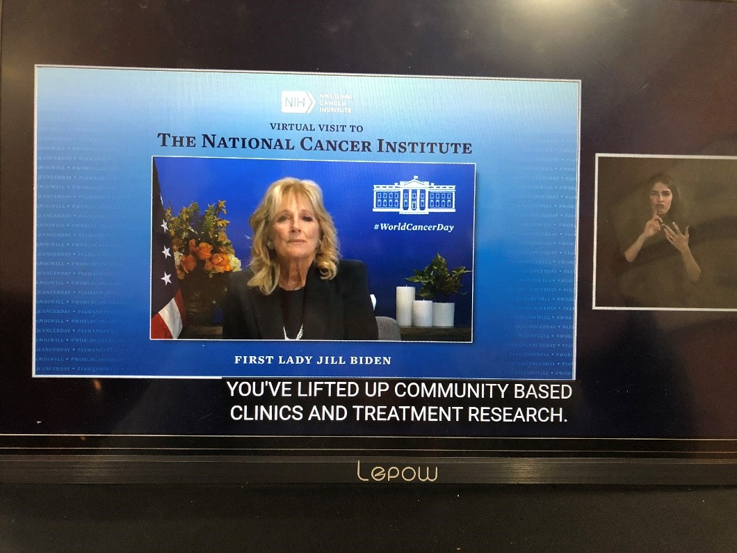 Screen grab of the virtual meeting with the First Lady, Dr. Jill Biden.