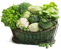A basket full of green vegetables