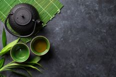 Image of a tea pot and a cup of green tea.