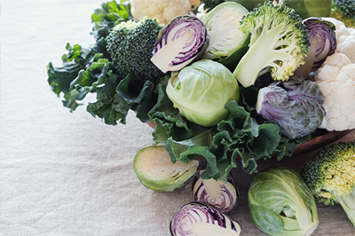 A variety of cruciferous vegetables.