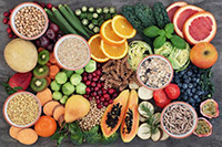 Image of foods high in whole grains, legumes, and fruits and vegetables.