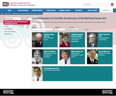 Screen capture DCP's Commemoration of the 50th Anniversary of the National Cancer Act webpage.