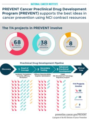 Infographic of the PREVENT Funded Projects (Cycles 1-17) broken down by type:  Chemoprevetion, Immunoprevention, and Biomarkers.