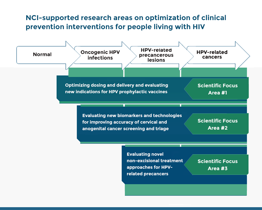 NCI-Supported Research Areas on optimization of clinical prevention interventions for people living with HIV.